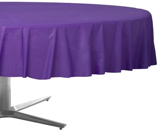 New Purple Round Plastic Table Cover, 84""
