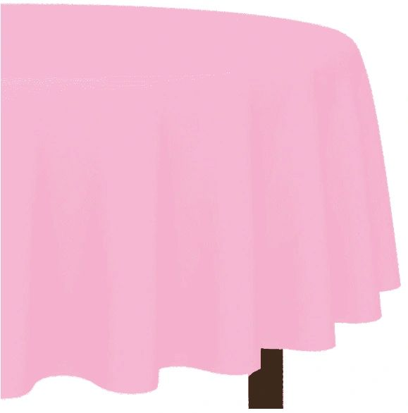 New Pink Round Plastic Table Cover, 84""