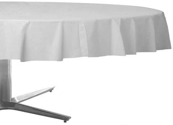 Frosty White Round Plastic Table Cover, 84""