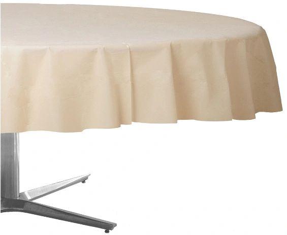 """Vanilla Crème Round Plastic Table Cover, 84"""""""