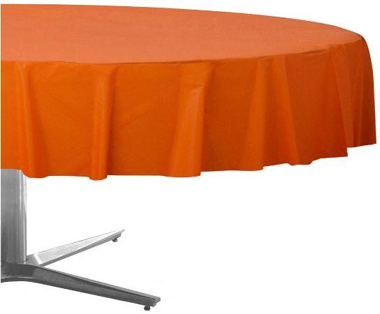 "Orange Peel Round Plastic Table Cover, 84"""