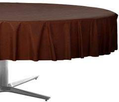 """Chocolate Brown Round Plastic Table Cover, 84"""""""