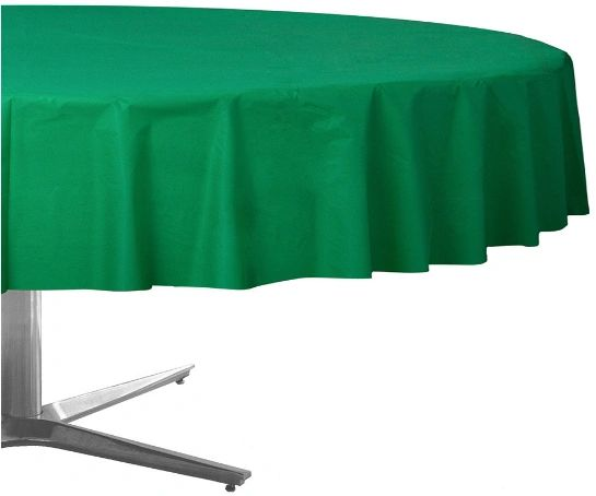 """Festive Green Plastic Round Table Cover, 84"""""""