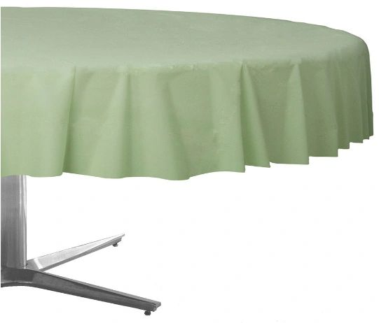 Leaf Green Round Plastic Table Cover, 84""