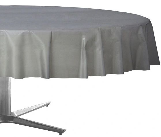 """Silver Round Plastic Table Cover, 84"""""""