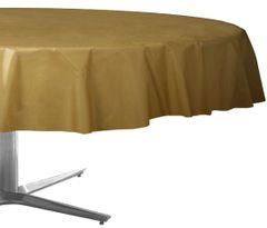 """Gold Round Plastic Table Cover, 84"""""""