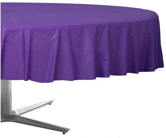 "Purple Round Plastic Table Cover, 84"""