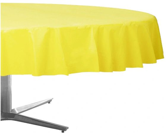 """Light Yellow Round Plastic Table Cover, 84"""""""