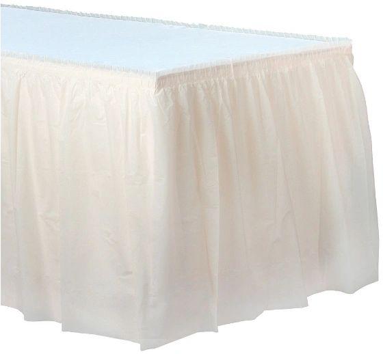 "Vanilla Crème Solid Color Plastic Table Skirt, 14' x 29"""