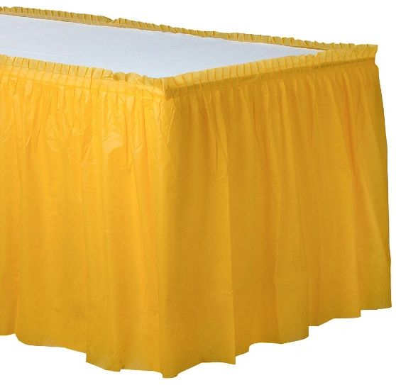 Sunshine Yellow Solid Color Plastic Table Skirt, 14' x 29""