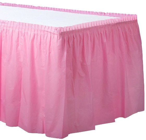 New Pink Solid Color Plastic Table Skirt, 14' x 29""