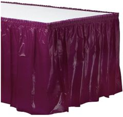 """Berry Solid Color Plastic Table Skirt, 14' x 29"""""""