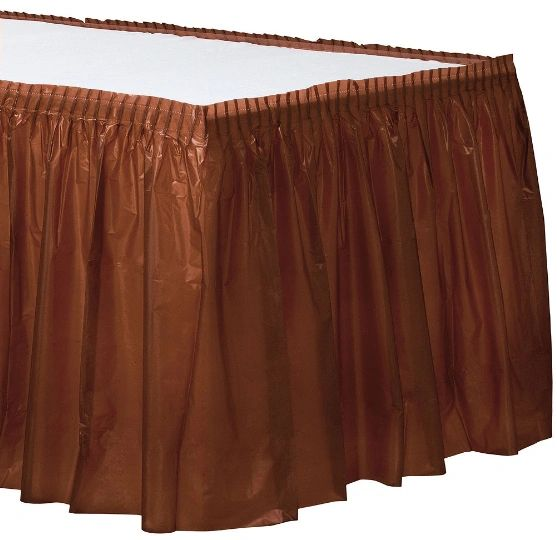 Chocolate Brown Solid Color Plastic Table Skirt, 14' x 29""