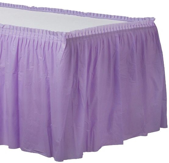 Lavender Solid Color Plastic Table Skirt, 14' x 29""