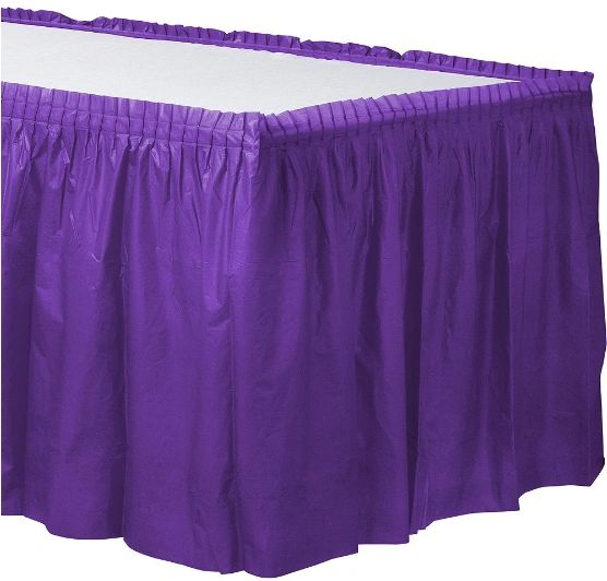 New Purple Solid Color Plastic Table Skirt, 14' x 29""