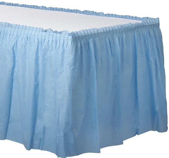 Pastel Blue Solid Color Plastic Table Skirt, 14' x 29""