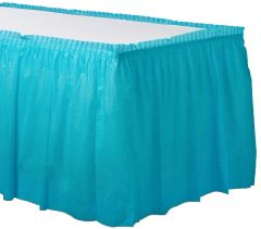 """Caribbean Blue Solid Color Plastic Table Skirt, 14' x 29"""""""