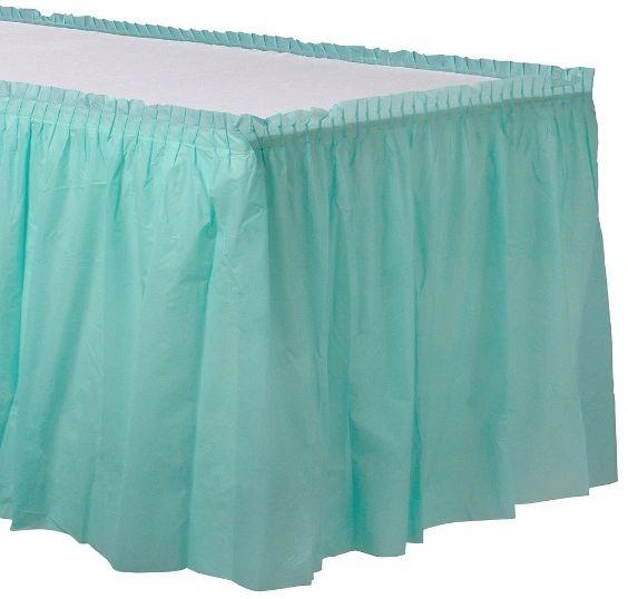 "Robin's-Egg Blue Solid Color Plastic Table Skirt, 14' x 29"""