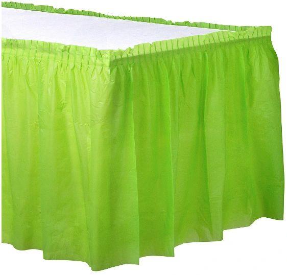"Kiwi Solid Color Plastic Table Skirt, 14' x 29"""