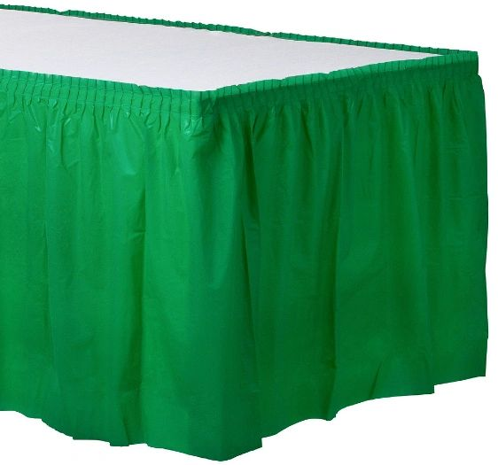 Festive Green Solid Color Plastic Table Skirt, 14' x 29""