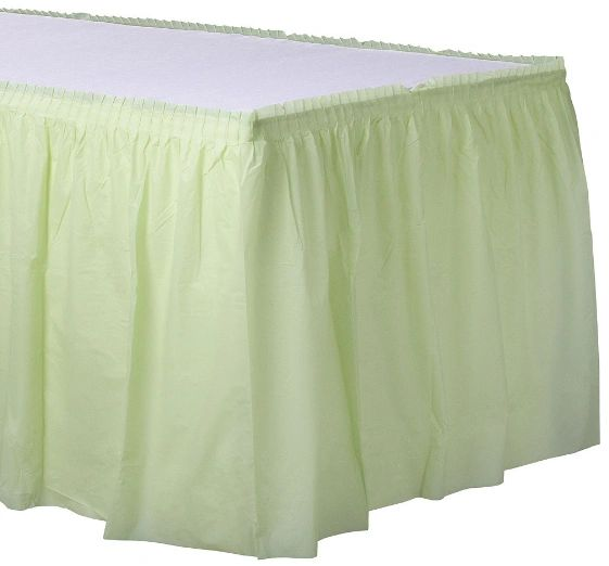 Leaf Green Solid Color Plastic Table Skirt, 14' x 29""