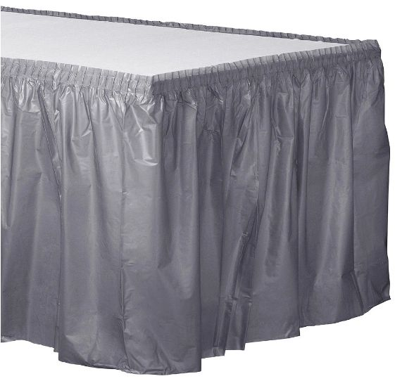 """Silver Solid Color Plastic Table Skirt, 14' x 29"""""""
