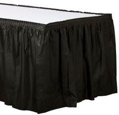 "Jet Black Solid Color Plastic Table Skirt, 14' x 29"""
