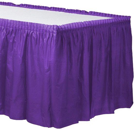 "Purple Solid Color Plastic Table Skirt, 14' x 29"""