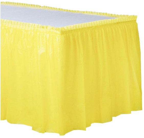 """Light Yellow Solid Color Plastic Table Skirt, 14' x 29"""""""