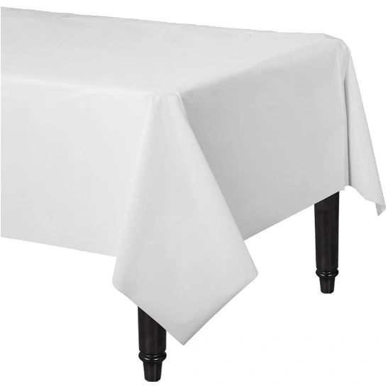 "Frosty White Rectangular Plastic Table Cover, 54"" x 108"""