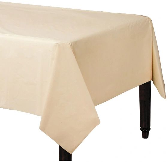 "Vanilla Crème Rectangular Plastic Table Cover, 54"" x 108"""