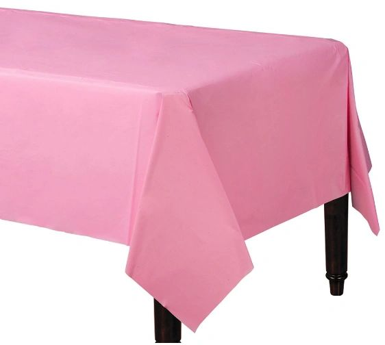 "New Pink Rectangular Plastic Table Cover, 54"" x 108"""