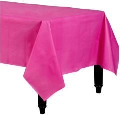 """Bright Pink Rectangular Plastic Table Cover, 54"""" x 108"""""""