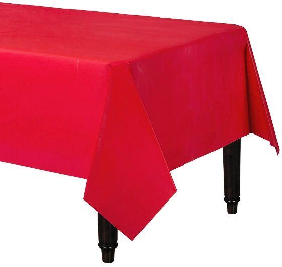 "Apple Red Rectangular Plastic Table Cover, 54"" x 108"""