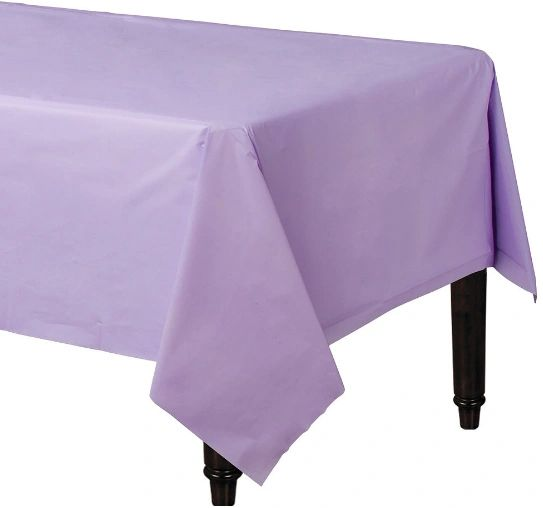 "Lavender Rectangular Plastic Table Cover, 54"" x 108"""