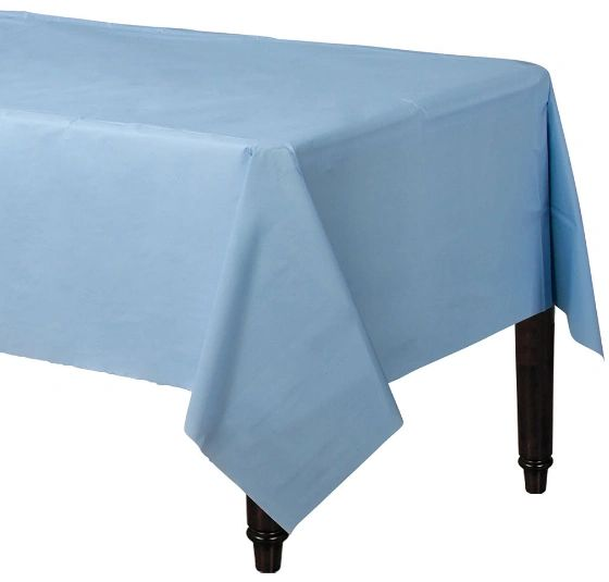 "Pastel Blue Rectangular Plastic Table Cover, 54"" x 108"""