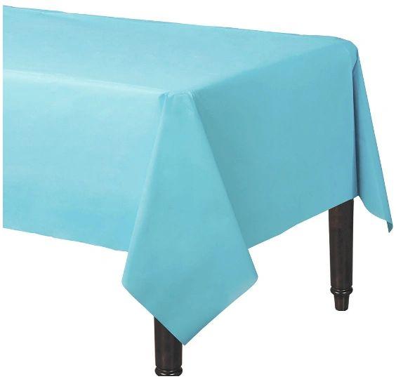"Caribbean Blue Rectangular Plastic Table Cover, 54"" x 108"""