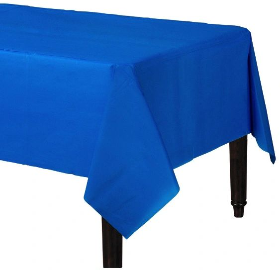 "Bright Royal Blue Rectangular Plastic Table Cover, 54"" x 108"""