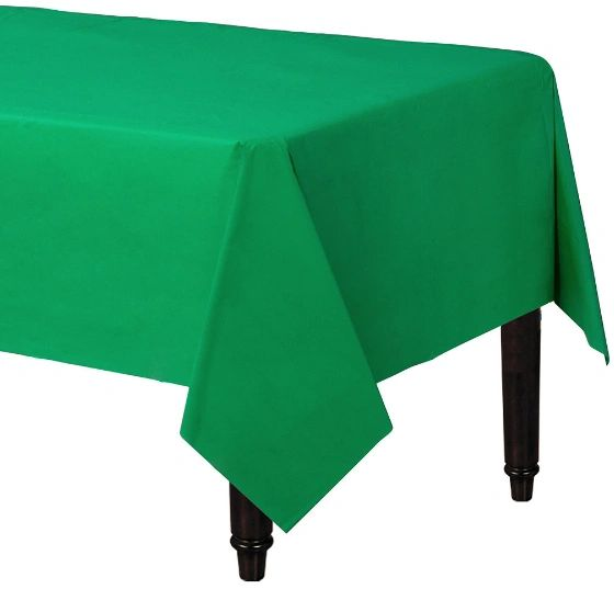"Festive Green Rectangular Plastic Table Cover, 54"" x 108"""