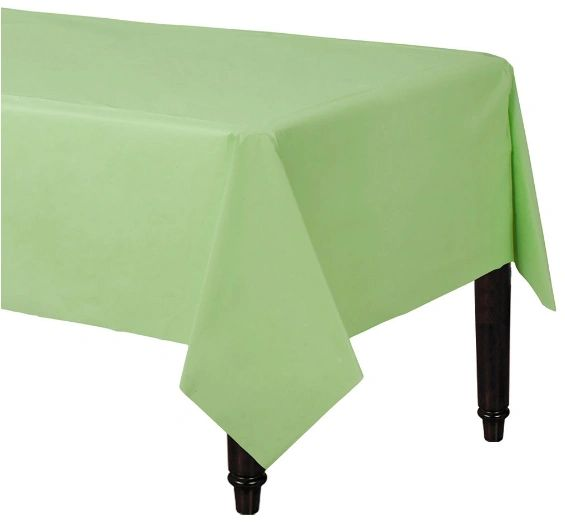"Leaf Green Rectangular Plastic Table Cover, 54"" x 108"""