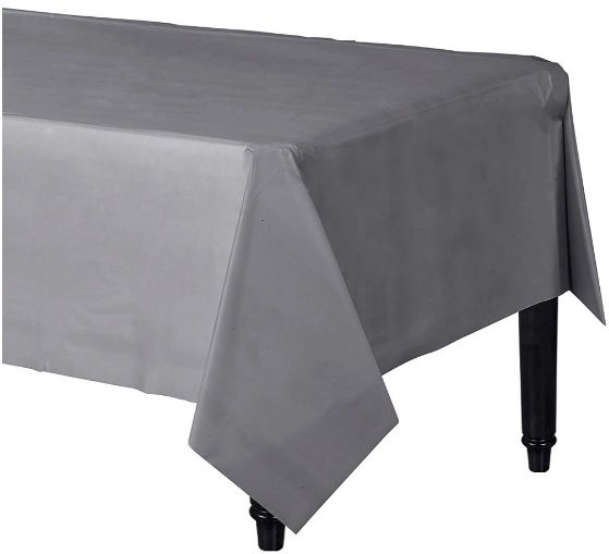 """Silver Rectangular Plastic Table Cover, 54"""" x 108"""""""