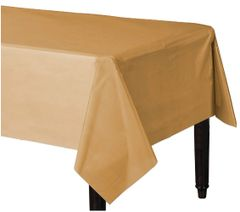 "Gold Rectangular Plastic Table Cover, 54"" x 108"""