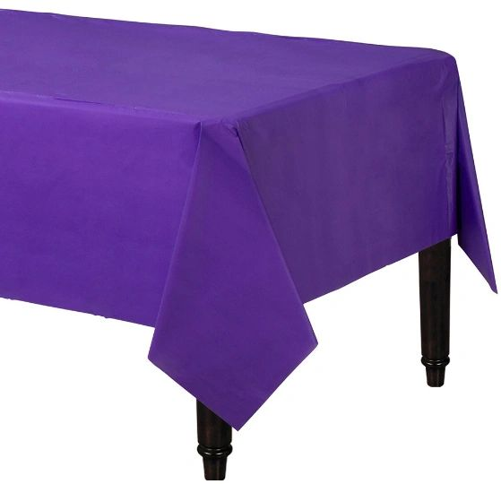"Purple Rectangular Plastic Table Cover, 54"" x 108"""