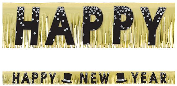 New Year's Foil Fringe Banner - Black, Silver, Gold