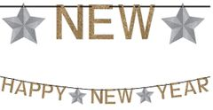 Happy New Year Ribbon Banner w/Glitter Paper Letters - Silver & Gold