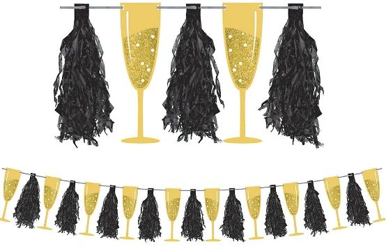 Champagne Flute Tassel Garland, 10ft