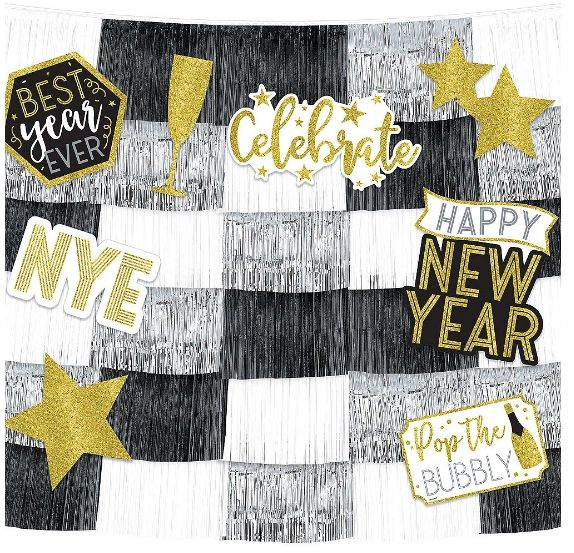 New Year's Eve Fringe Banners with Cutouts, 14pc