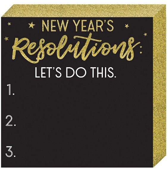 New Year's Resolutions Square Chalkboard Standing Plaque
