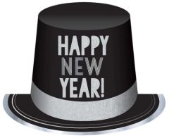 Happy New Year's Eve Black & Silver Top Hat