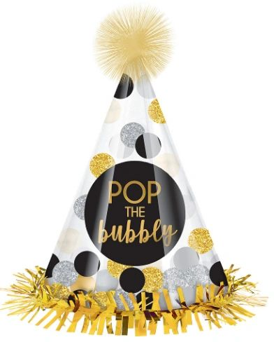 Pop The Bubbly Confetti Cone Hat
